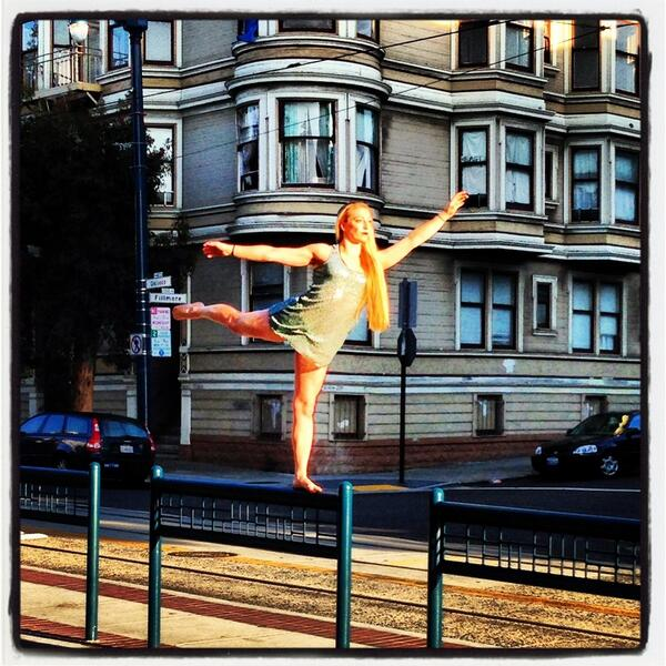RT @JeffElder: I love #SF. This is what I encounter at 7 a.m. In The Castro. Muni stop circus girl. http://t.co/WDN3uFa3YO