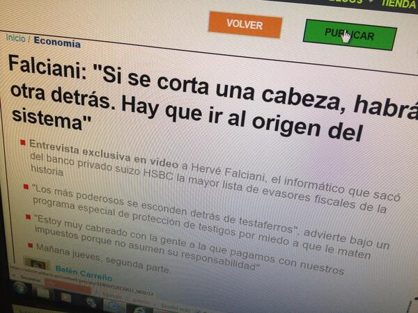 Un momento histórico para @eldiarioes. Publicando la exclusiva de Falciani. Click! http://t.co/VkVXi06MnZ