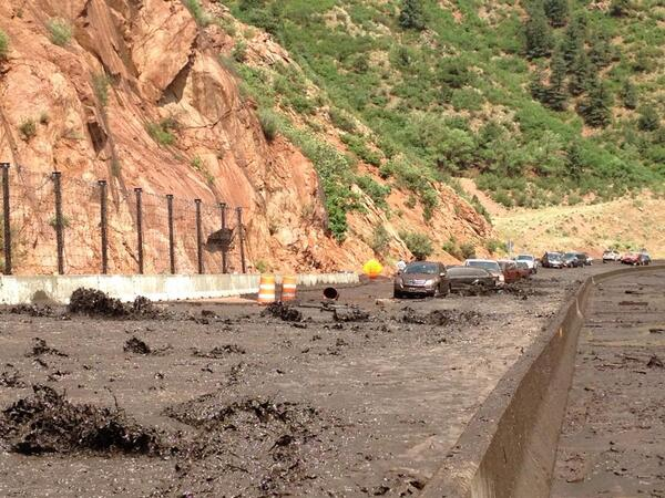 Photo shows water and mud flowing on WB Highway 24. #WaldoFlood http://t.co/EBNXybUBGK