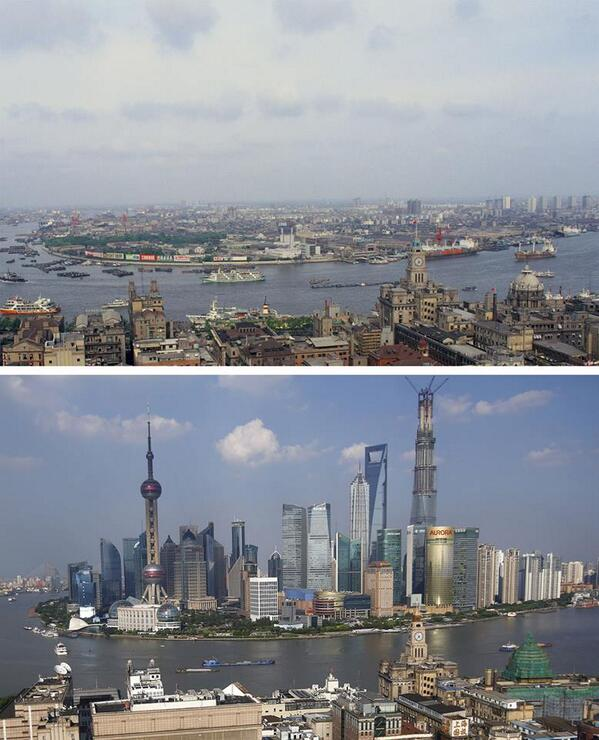 Shanghai Skyline - 1987 vs 2013 http://t.co/l2h6PyKFJ6
