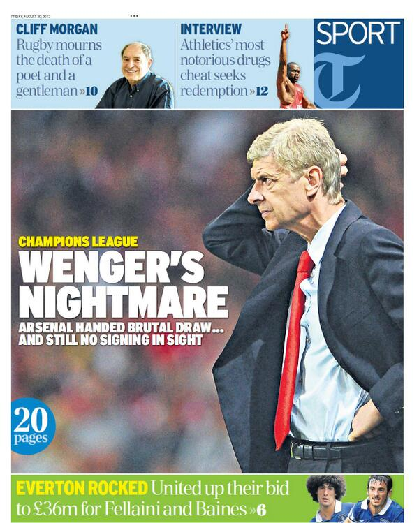 BS3VmekCAAA lzG Fridays back pages batter Arsenal: Wengers nightmare & its all Gunn wrong