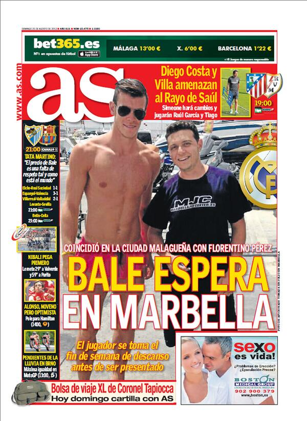 BSfYetyCEAArFUR Both Marca & AS post old photos of Gareth Bale in Marbella on their front covers