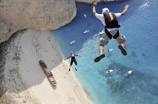 BASE Jumpers at Zakynthos Island, Greece http://t.co/a0vIaM62L2