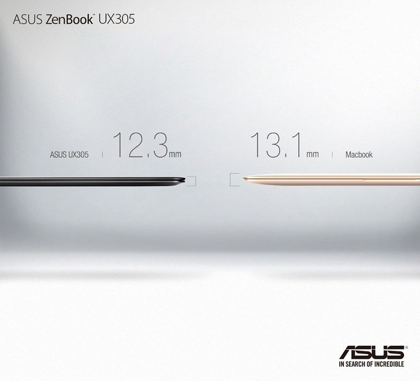 ZenBook UX305 is even slimmer than the new Macbook. It's also about half the price. #Incredible http://t.co/ATSENGVMIi