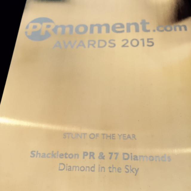 The winner of Stunt of the Year is @ShackletonPR & @77Diamonds. Congratulations! #prmomentawards http://t.co/5eFPiUdL1i