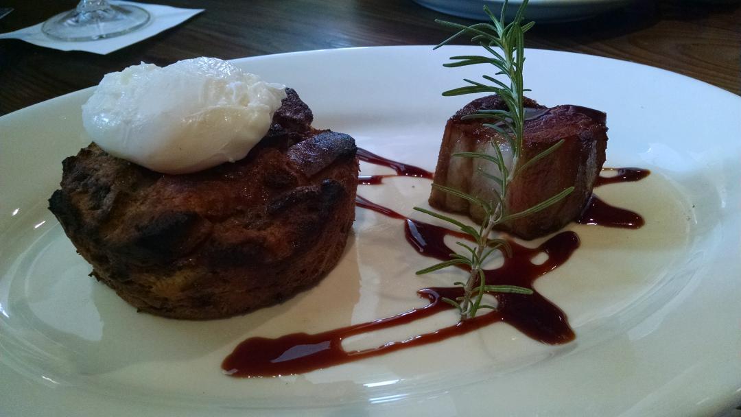 Baked Spanish Toast - Krispy Kreme bread pudding, Bordeaux cherries. Kalimotxo glazed pork belly, egg @TxokosKitchen http://t.co/tTsp9CfnTn