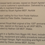 Remember Tory fundraising auction? UKIP equivalent was all Spitfire rides & lamb carcasses: http://t.co/kzS8iu1gvH http://t.co/IsiekY1hjh