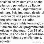 Asesinan en Palmira esta noche de lunes a periodista de Radio Luna de Todelar. Edgar Quintin Quintero. http://t.co/xr9rR5sW5V