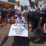 Richard Borellas son was waiting for his dad at Adelaide River with this sign. The last stop to Darwin is next. http://t.co/fdzOFcqVEd