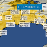 #Dense #Fog Advisories continue from E. #Texas to SW #Georgia w/ visibility less than 1 mile for many. Take it slow. http://t.co/4mF97OLKUj