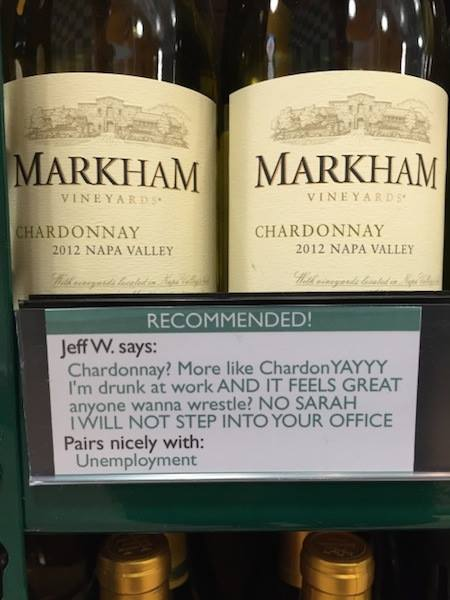 Happy Friday everyone! RT @hedgedevil: This liquor store is keeping it real with their recommendations. http://t.co/vYCxLsXaFZ