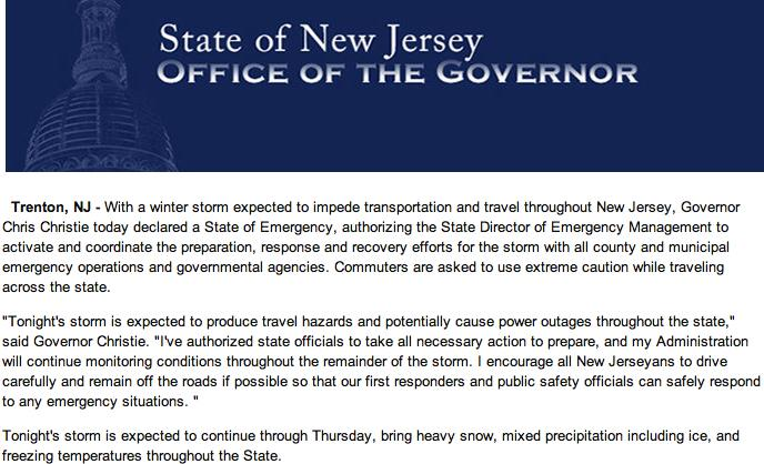 Gov Chris Christie has declared a State of Emergency #NewJersey #StateOfEmergency #SafetyFirst http://t.co/hMvAGKjRDf