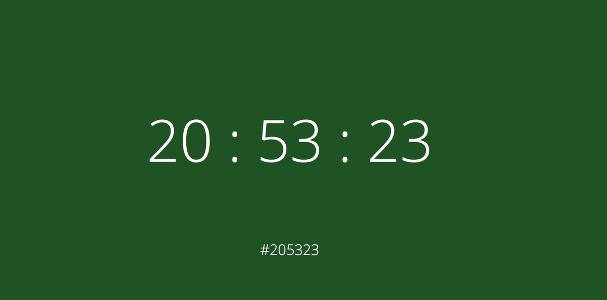 A color clock that converts the current time to a 6 character hex code color. Check it out: http://t.co/BEYLXmUnAk http://t.co/YtvkBnGRur