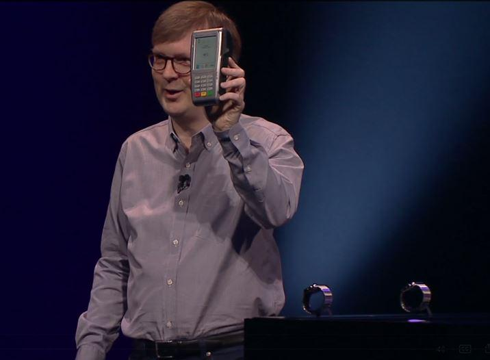 We couldn't help but notice the @Verifone VX 680 used by @kevinlynch at the #AppleLive event today to demo #ApplePay http://t.co/9F2Ef115KM
