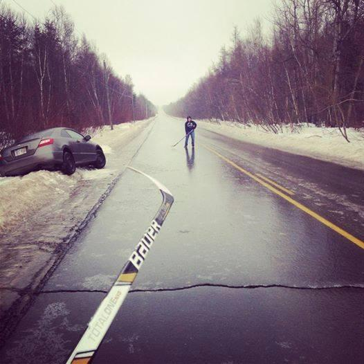 RT @UberHockeyFacts: Waiting for the tow truck, might as well pass the puck around on the icy road. http://t.co/UQpPnqmrlP