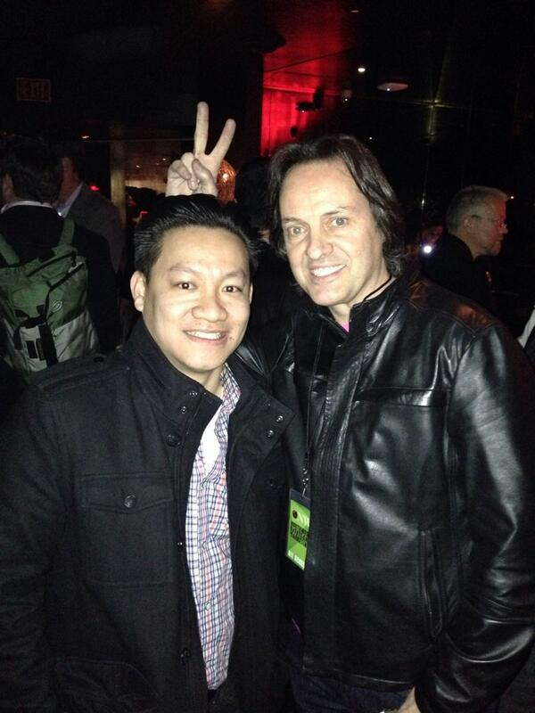 Ran into @JohnLegere at the AT&T party. Yep, he crashed it. And still wearing the pink t-mo shirt. #CES2014 http://t.co/gy9vGTJUEW