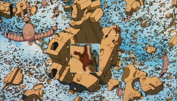 【ラピュタのムスカ落下シーン】天空の城のムスカは、バルスによってラピュタが崩壊する時、ちゃんと瓦礫と一緒に落ちていくシー