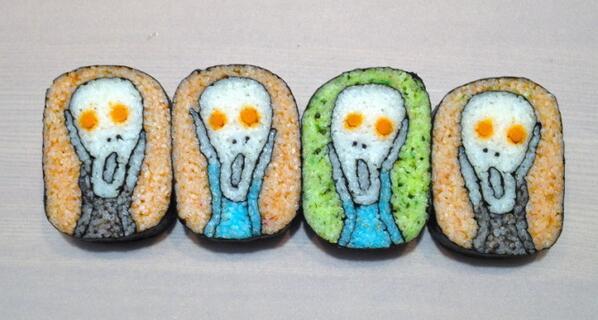 Munch on Munch (for lunch)! RT @stevesilberman  Takao Kiyota's amazing sushi art. http://t.co/1dxZImkD03  http://t.co/uWDRZfMMq7