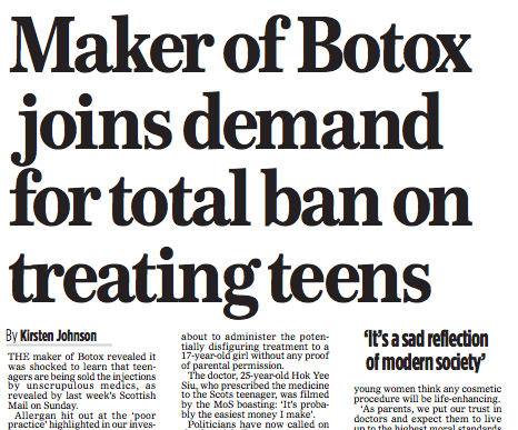 Botox manufacturer @Allergan joins demand on total ban on treatment of teens, via @MoS_Health   #Aesthetics #Botox http://t.co/v8dURQt4YE