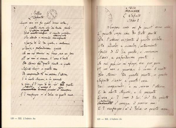 """Date uno sguardo alla versione autografa de """"L'infinito"""" di Leopardi. Non vi commuove? http://t.co/aXI0UdC14s"""