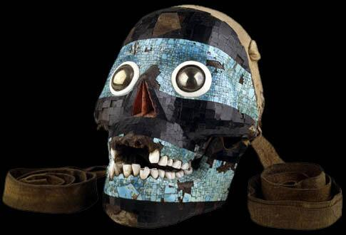 Mosaic human skull mask of Aztec god Tezcatlipoca w/ hinged jaw! Imagine the ceremonies this was used in #archaeology http://t.co/llQ60iJgzh
