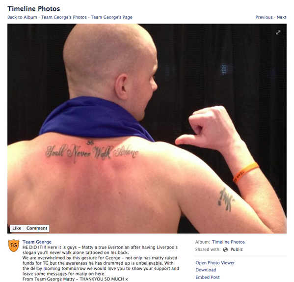 BfA3TQqCYAAcdVq Diehard Everton fan gets a Youll Never Walk Alone tattoo on his back to support ill child [Picture]