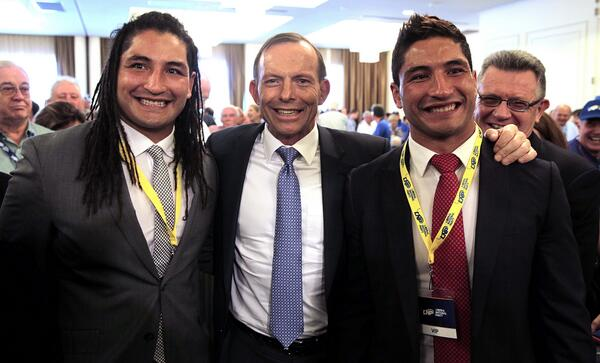 Was an honour and privilege to meet @TonyAbbottMHR: Good to meet the @FaingaaTwins in Brisbane today. #griffithvotes http://t.co/gSjUctlNcj""