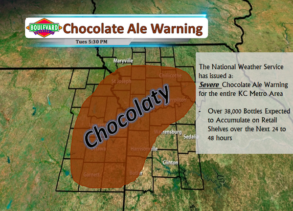 The KC metro is expected to see widespread deliveries of Chocolate Ale tomorrow. Please be careful and kind. http://t.co/A7bDFQQL6P