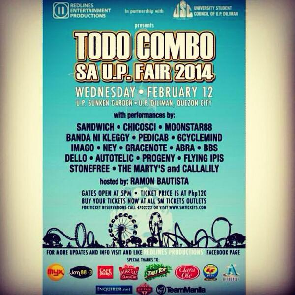 To all lovebirds, tara! Todo Combo na sa UP Fair 2014. See you on Feb 12 at the famous sunken garden! http://t.co/UyOq9bVEVV