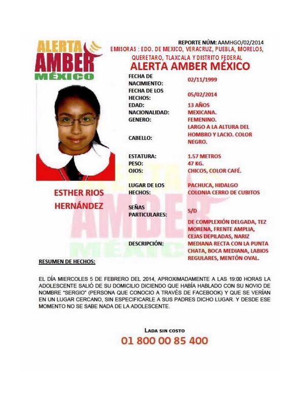 Comparte esta información y ayúdanos a difundirla. Activación de #AlertaAmber por la menor ESTHER RÍOS HERNÁNDEZ http://t.co/rSJogynCLv