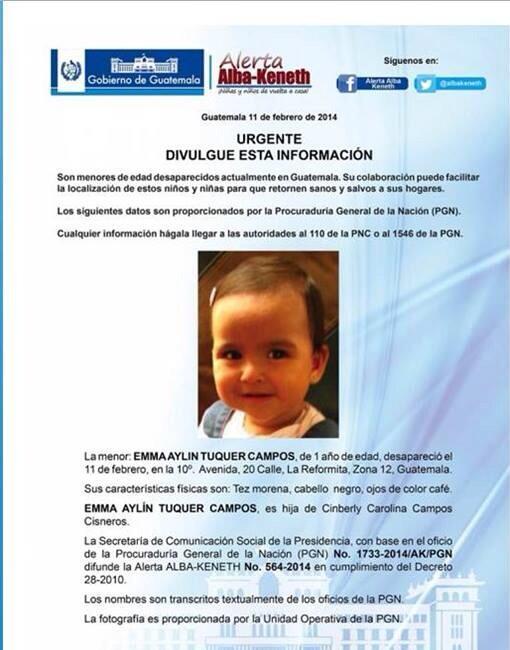 Emma Aylin Tuquer de 1 año desapareció. Se agradece su divulgación y si saben de su paradero. http://t.co/4kjHyF8zQd