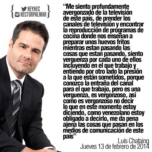Reflexión de @LuisChataing hoy en su programa sobre la vergüenza en la que se convirtió la televisión venezolana http://t.co/B5g1mM1Gnr