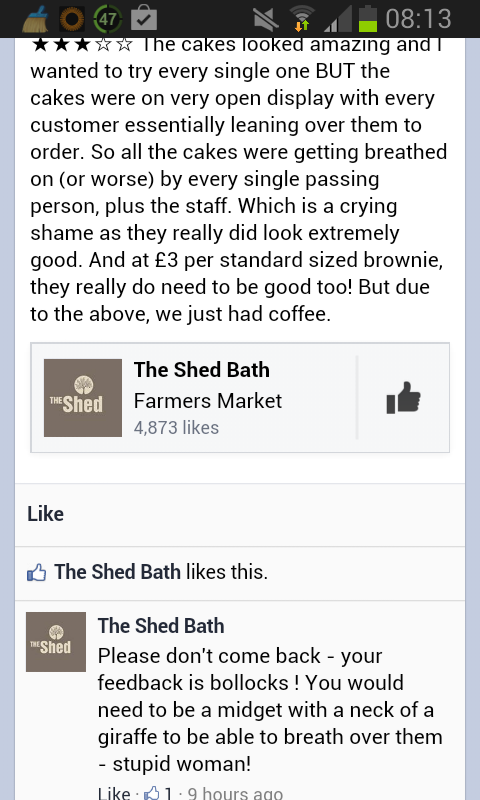 Not sure I've ever seen customer service as bad as this from @theshedbath. Has to be seen! cc/ @WeLoveBath http://t.co/1CANrbuI1y