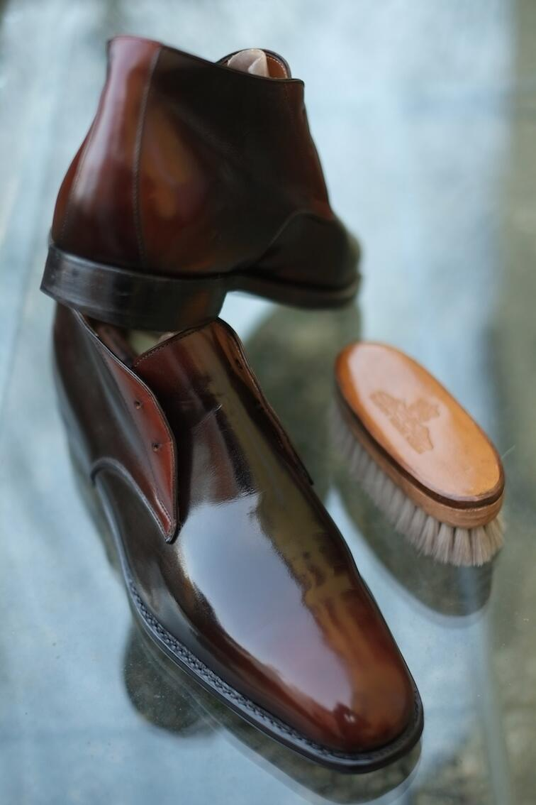 """Essential Brown""-A new Patina by Dandy Shoe Care for a  lucky customer from Canada - Mr.J.K. @Ferragamo #boots #best http://t.co/Cf6cTj696P"