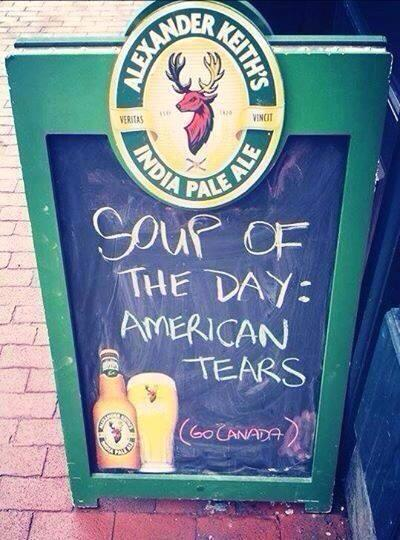 Currently on every North American menu #TeamCanada #OlympicHockey #CANvsUSA #sorrynotsorry @CDNOlympicTeam http://t.co/fMHwg1LESN