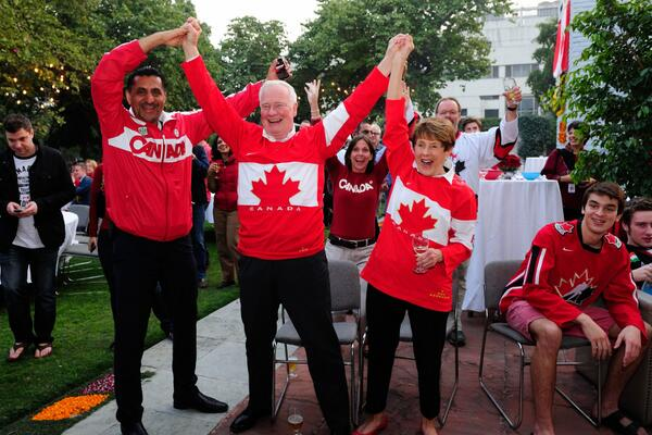 Despite being in India, we can't resist watching Team Canada's gold medal hockey game! #GoCanadaGo http://t.co/CY3490kDb1