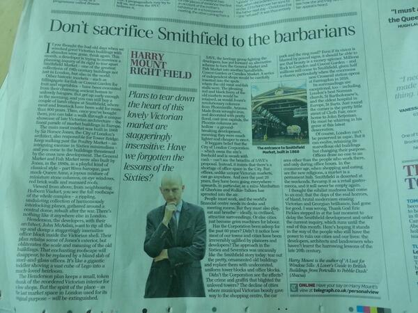 Don't sacrifice Smithfield to the barbarians article in today's Telegraph http://t.co/H99mQEUMX2