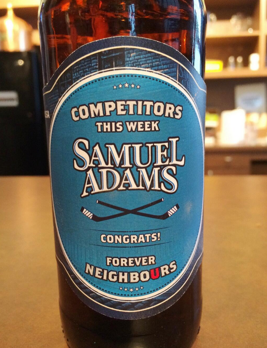 Here is the @SamuelAdamsBeer that Washington is sending over to Ottawa after our Men and Women beat Team USA in Sochi http://t.co/MSGoXDeqlQ