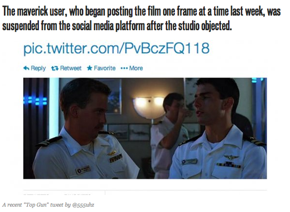 #HollyStupid - Paramount tells Twitter to take care of an individual who is tweeting Top Gun one frame at a time. http://t.co/pxQnMXdxeH