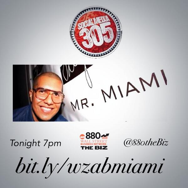 join us tonight at 7pm to talk social and #sobewff with @MRMiamiMarvin on @880thebiz only on #305LIVE Miami http://t.co/HqJ0VuTR35