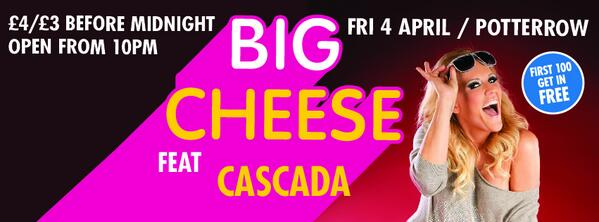 This! This is happening. Cascada at The Big Cheese #Potterrow Friday April 4 http://t.co/UyGn7kxn2N
