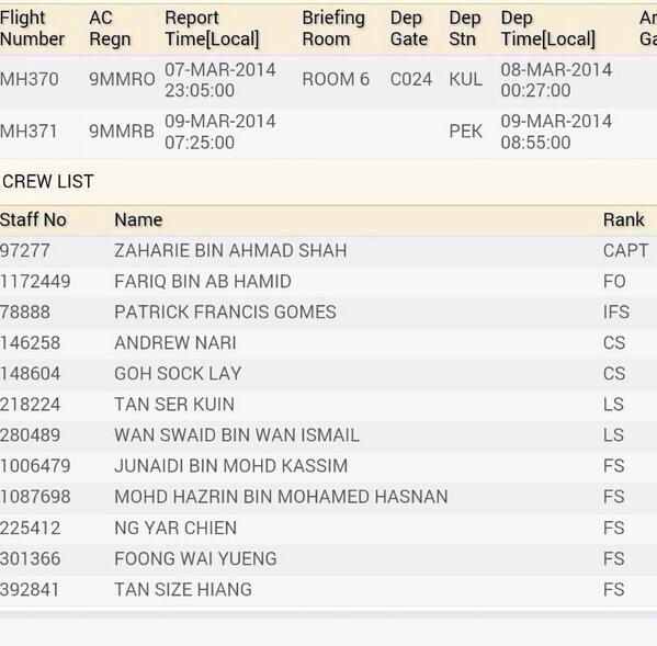 The list of all the crew inside flight MH370. Pray for their safety. #PrayForMH370 http://t.co/paNm3a6seV