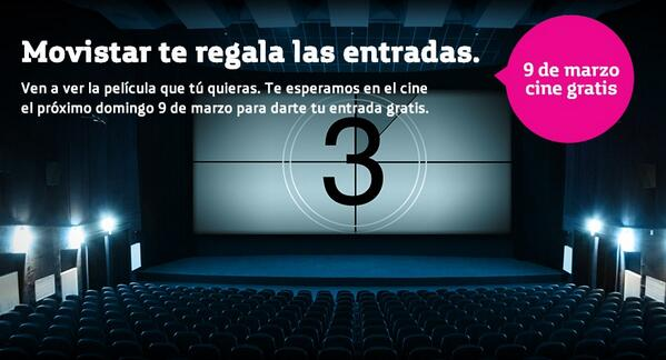 Mañana hay cine GRATIS en toda España #MovistarTeInvitaAlCine http://t.co/b6JImhKIPI