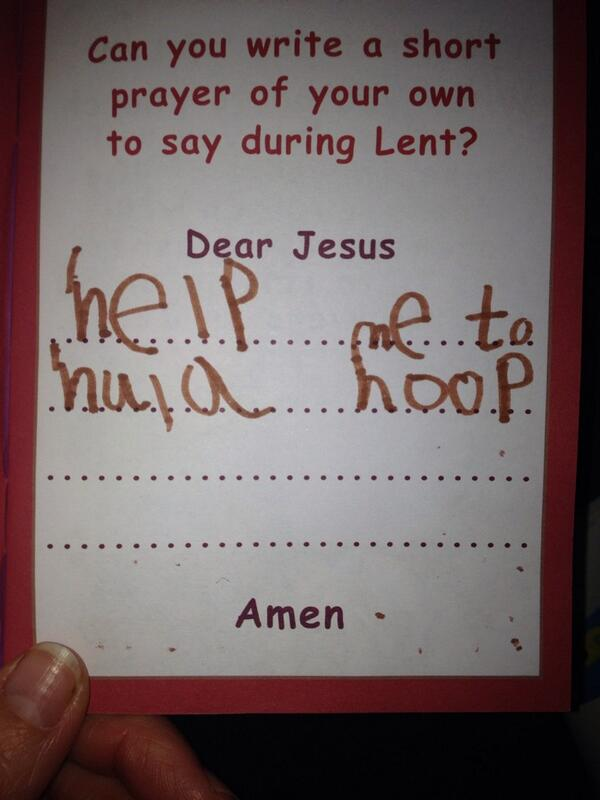 Daughter has to write a prayer for school. Says she's not sad about anything + knows how to be kind. Going with this: http://t.co/DzRcvY7vTY