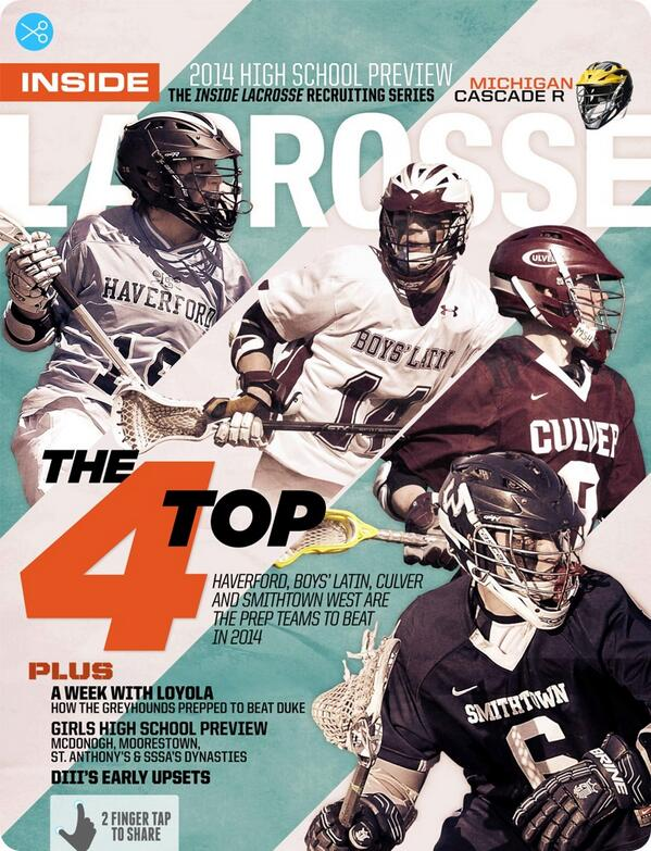 The @Inside_Lacrosse April Issue was unveiled today. Haverford, Boys' Latin, Culver & Smithtown West made the cover: