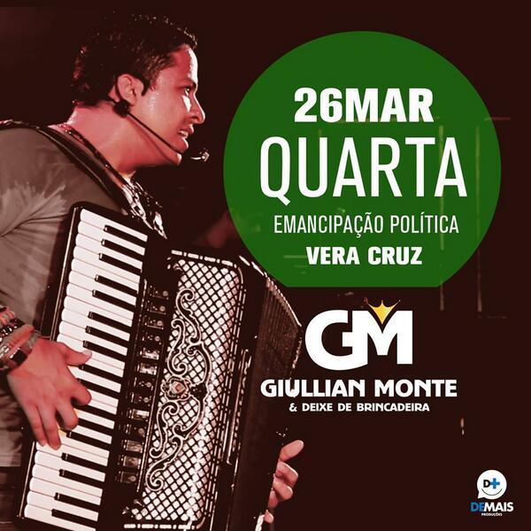Amanhã tem @GiullianMonte e @DDBBANDA em Vera Cruz/RN Festa de Emancipação Politica. #SimboraDDB http://t.co/t4yYXFsF4T