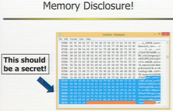 amazing!  #heartbleed memory disclosure via @MalwareJake http://t.co/Bg8anPzMCS