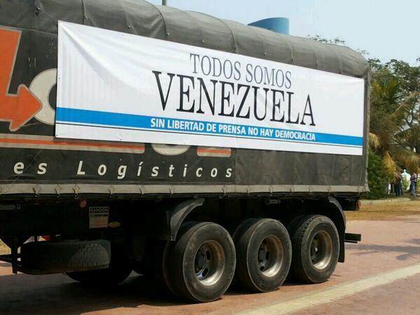 #TodosSomosVenezuela caravana con 52 toneladas de papel salió de Bolívar y ya avanza por Campeche, Atlántico. http://t.co/1xSHt3nU4w