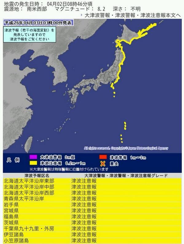 北海道から関東に津波注意報=チリ沖地震で到達へ―気象庁(時事通信) - Y!ニュース http://t.co/vvTRCNm14z http://t.co/NSDw87Ncpf