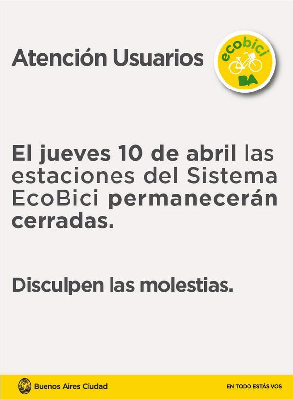 ¡Atención usuarios! El jueves 10 de abril las estaciones del Sistema estarán cerradas > http://t.co/q6FzmJ3IXM http://t.co/qvyaSKUQtR